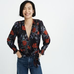 Madewell Silk Smocked Floral Top